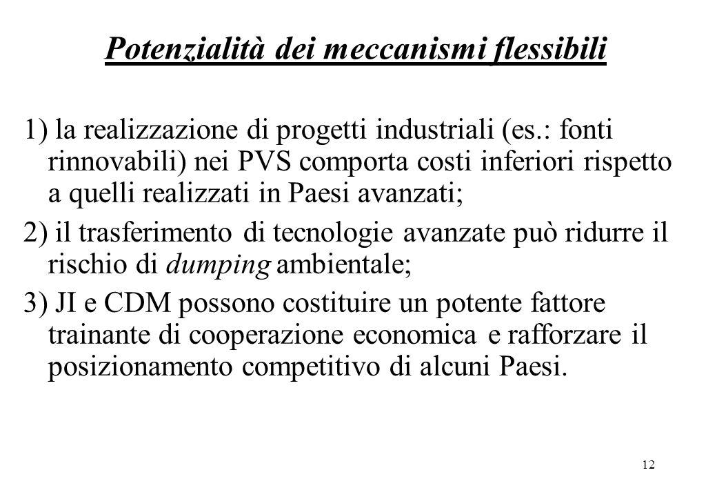 12 Potenzialità dei meccanismi flessibili 1) la realizzazione di progetti industriali (es.: fonti rinnovabili) nei PVS comporta costi inferiori rispetto a quelli realizzati in Paesi avanzati; 2) il trasferimento di tecnologie avanzate può ridurre il rischio di dumping ambientale; 3) JI e CDM possono costituire un potente fattore trainante di cooperazione economica e rafforzare il posizionamento competitivo di alcuni Paesi.