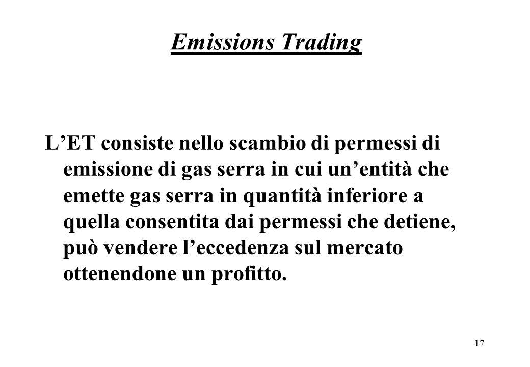 17 Emissions Trading LET consiste nello scambio di permessi di emissione di gas serra in cui unentità che emette gas serra in quantità inferiore a quella consentita dai permessi che detiene, può vendere leccedenza sul mercato ottenendone un profitto.