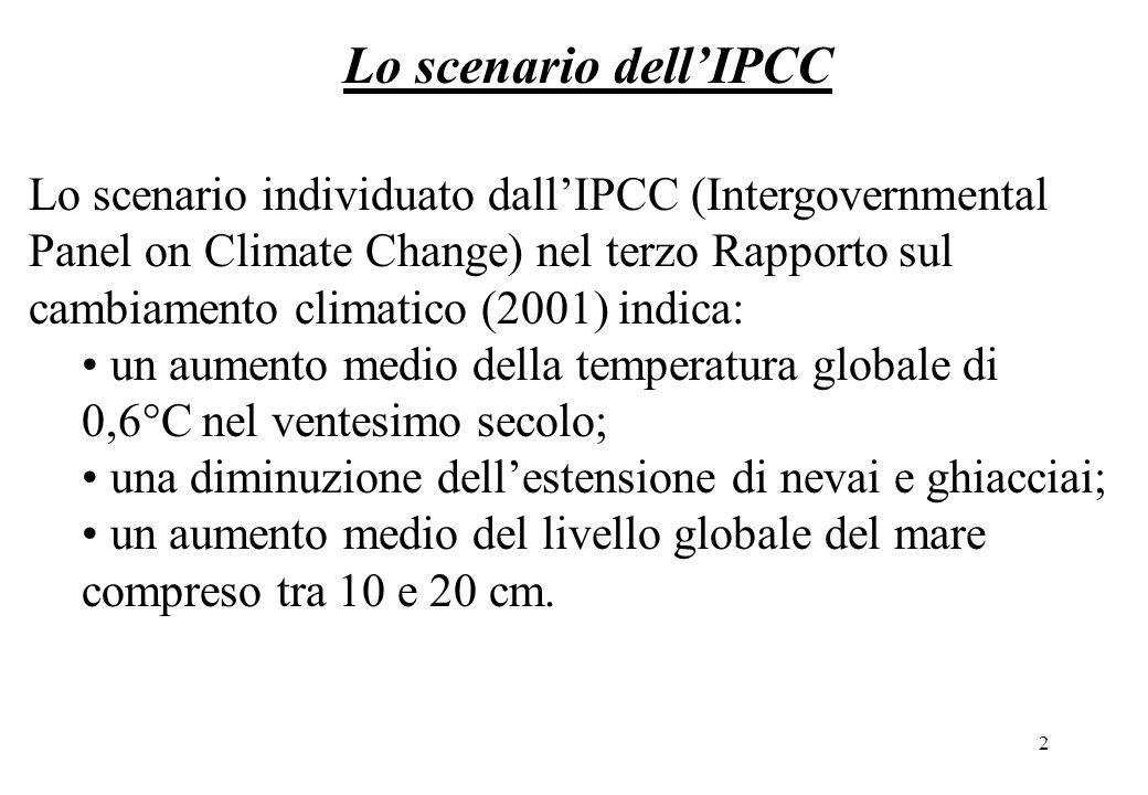 2 Lo scenario individuato dallIPCC (Intergovernmental Panel on Climate Change) nel terzo Rapporto sul cambiamento climatico (2001) indica: un aumento medio della temperatura globale di 0,6°C nel ventesimo secolo; una diminuzione dellestensione di nevai e ghiacciai; un aumento medio del livello globale del mare compreso tra 10 e 20 cm.
