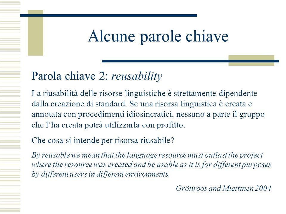 Alcune parole chiave Parola chiave 2: reusability La riusabilità delle risorse linguistiche è strettamente dipendente dalla creazione di standard.
