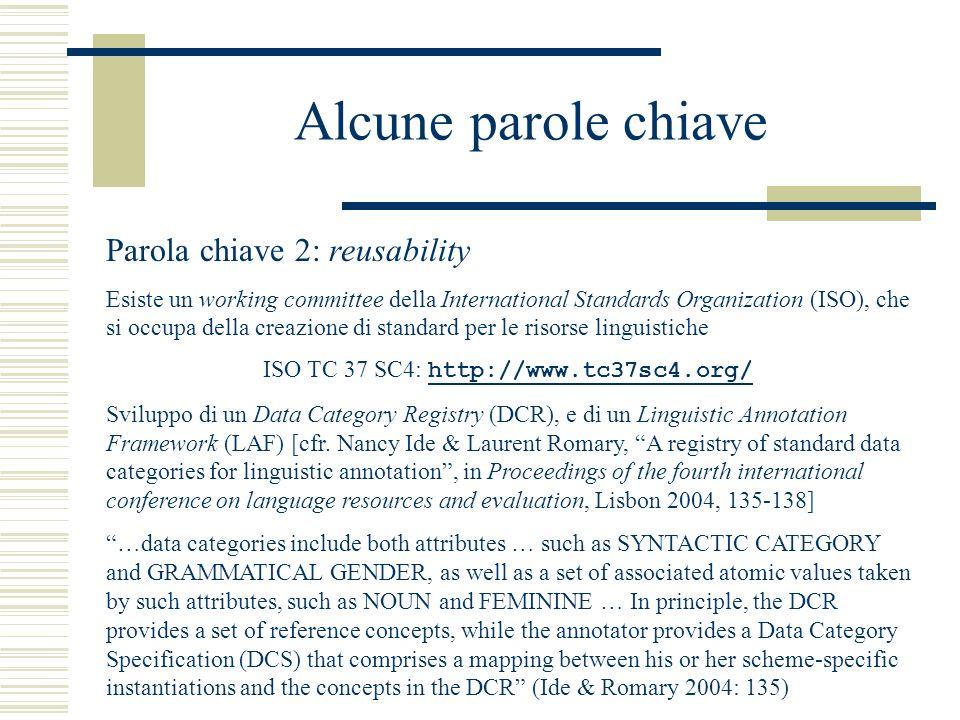 Alcune parole chiave Parola chiave 2: reusability Esiste un working committee della International Standards Organization (ISO), che si occupa della creazione di standard per le risorse linguistiche ISO TC 37 SC4: http://www.tc37sc4.org/ http://www.tc37sc4.org/ Sviluppo di un Data Category Registry (DCR), e di un Linguistic Annotation Framework (LAF) [cfr.