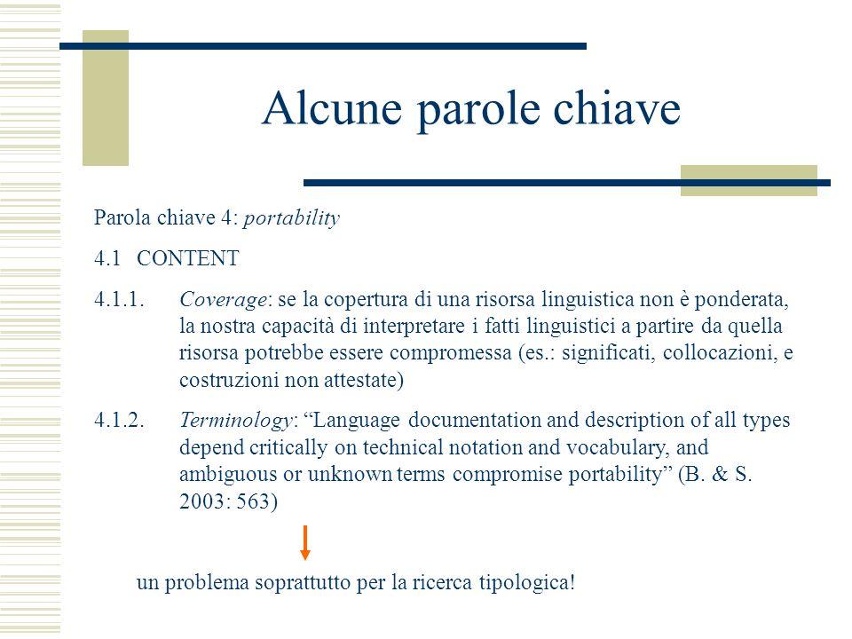 Alcune parole chiave Parola chiave 4: portability 4.1CONTENT 4.1.1.