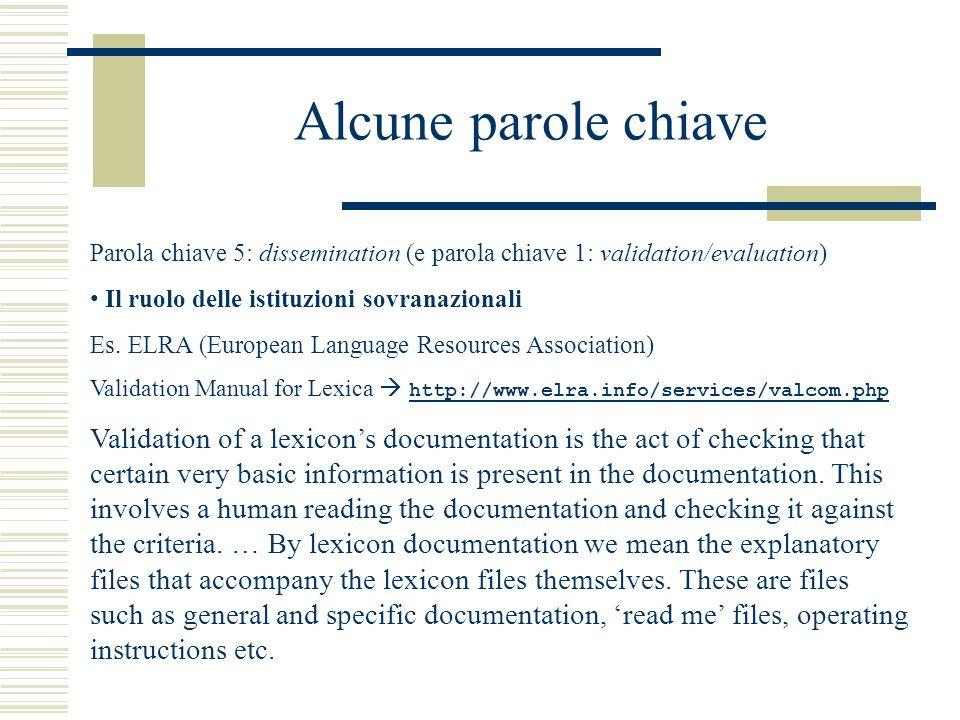 Alcune parole chiave Parola chiave 5: dissemination (e parola chiave 1: validation/evaluation) Il ruolo delle istituzioni sovranazionali Es.