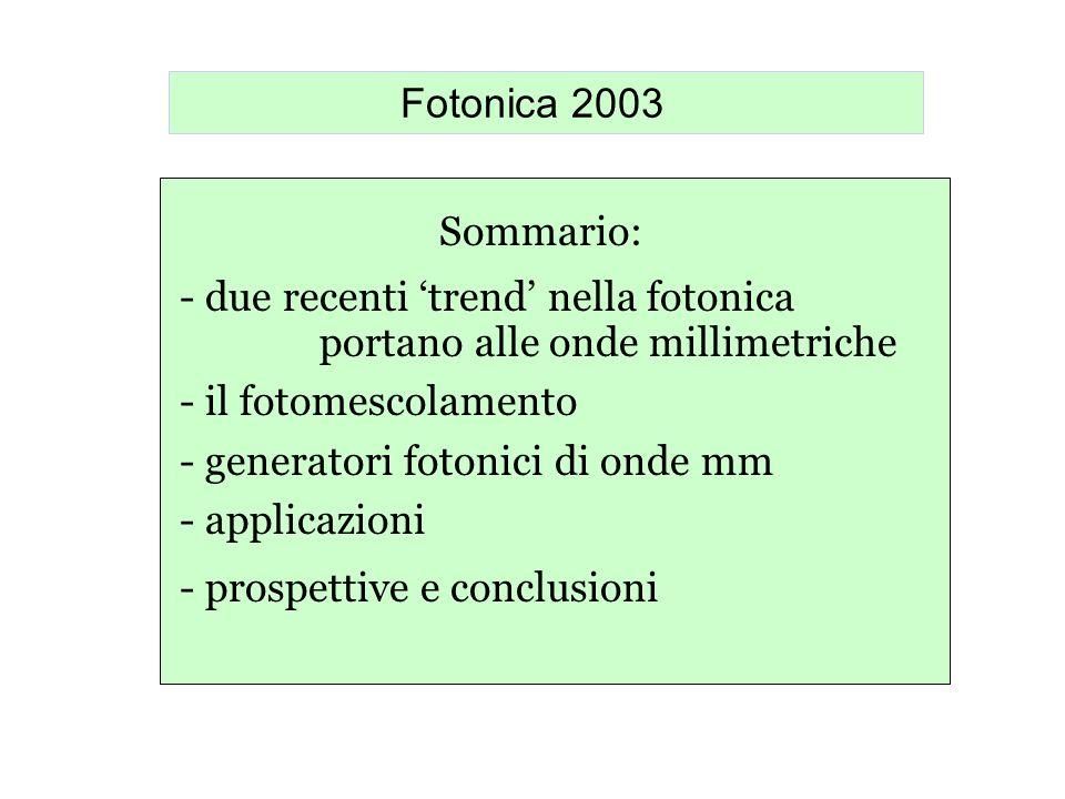 Fotonica 2003 Sommario: - due recenti trend nella fotonica portano alle onde millimetriche - il fotomescolamento - generatori fotonici di onde mm - ap