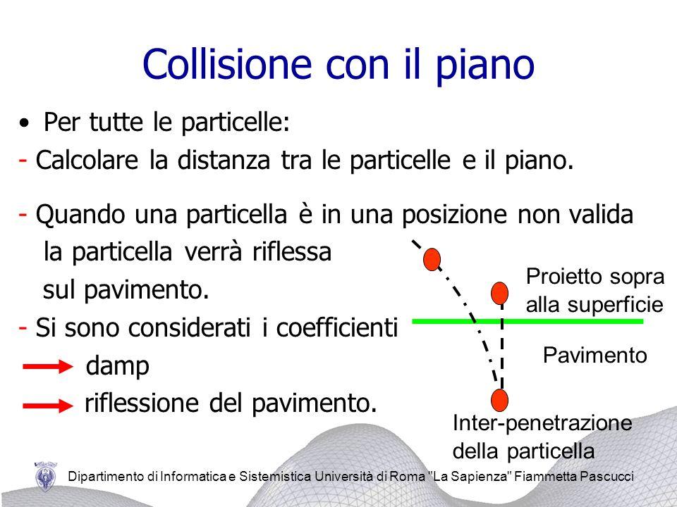 Dipartimento di Informatica e Sistemistica Università di Roma La Sapienza Fiammetta Pascucci Collisione con il piano Per tutte le particelle: - Calcolare la distanza tra le particelle e il piano.