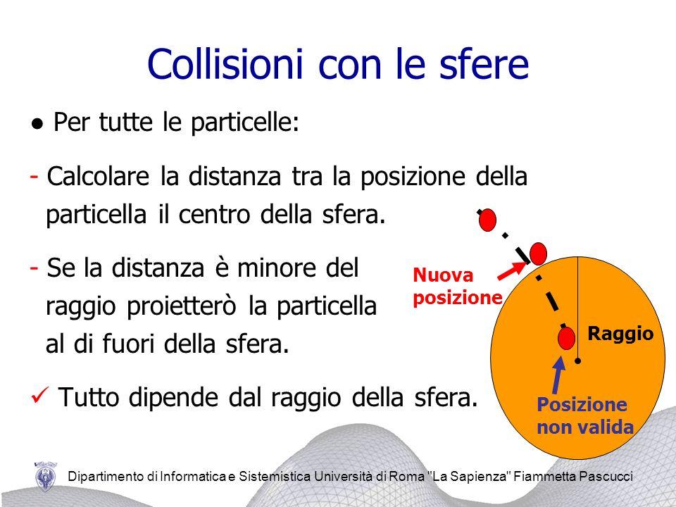 Dipartimento di Informatica e Sistemistica Università di Roma La Sapienza Fiammetta Pascucci Collisioni con le sfere Per tutte le particelle: - Calcolare la distanza tra la posizione della particella il centro della sfera.