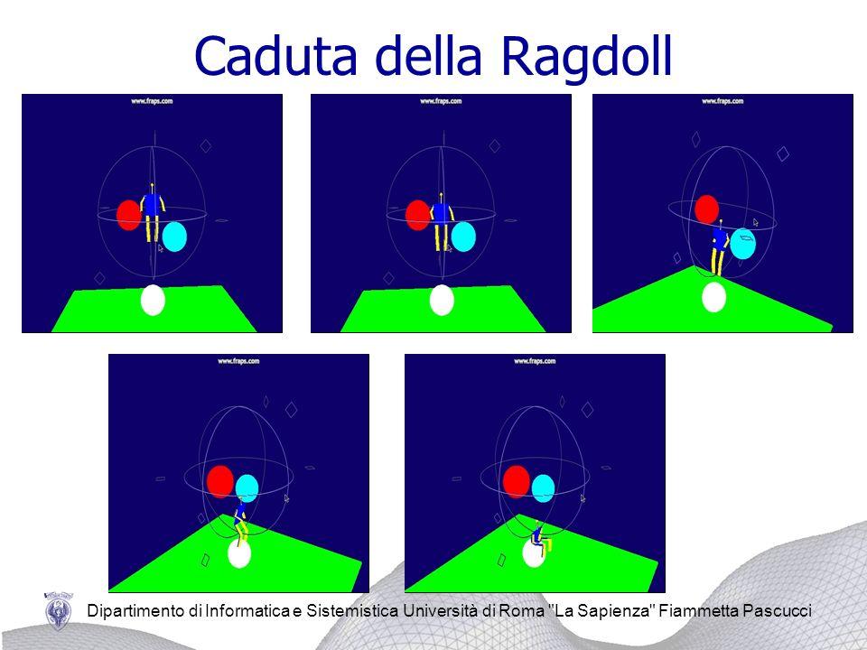 Dipartimento di Informatica e Sistemistica Università di Roma La Sapienza Fiammetta Pascucci La ragdoll è composta da due importanti vincoli: Vincolo di equidistanza: è un vincolo tra due particelle inserito dopo aver calcolato la distanza che le separa.