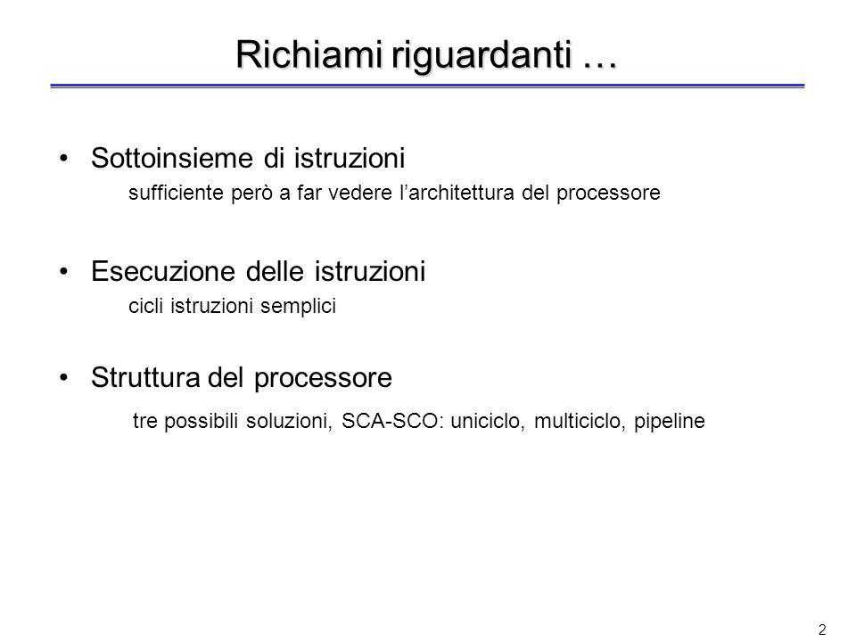 1 Caratteristiche principali dellarchitettura del processore MIPS E unarchitettura RISC (Reduced Instruction Set Computer) –Esegue soltanto istruzioni