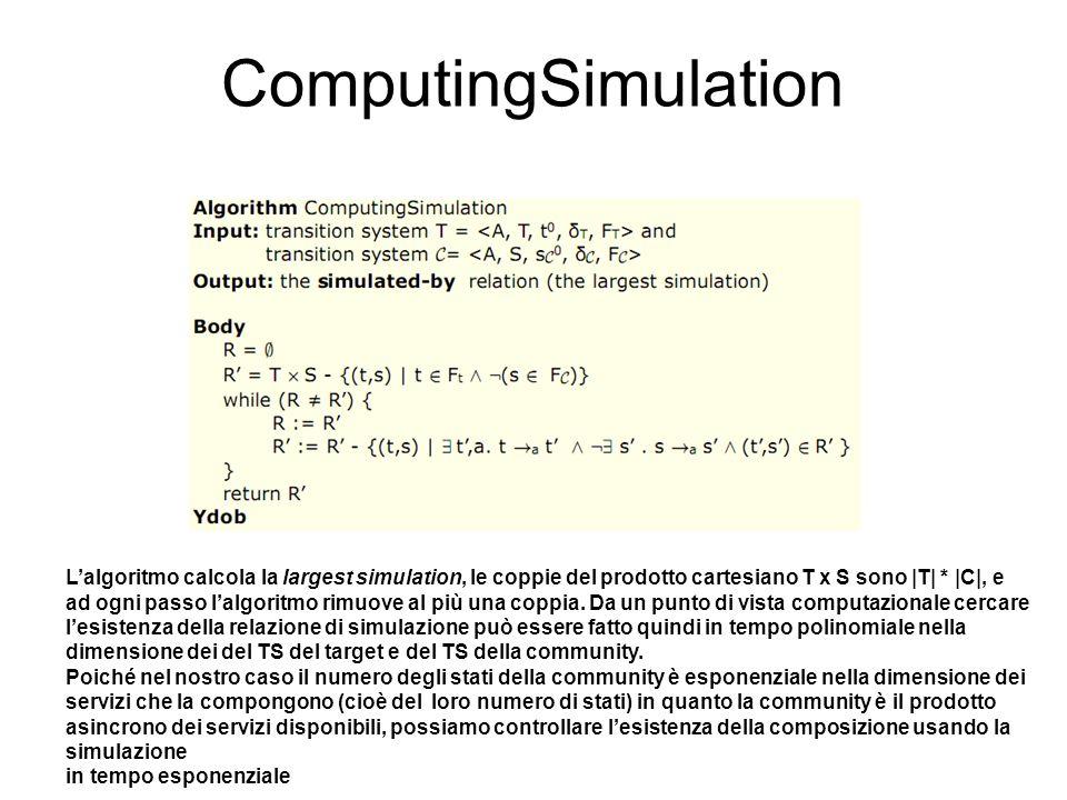 ComputingSimulation Lalgoritmo calcola la largest simulation, le coppie del prodotto cartesiano T x S sono |T| * |C|, e ad ogni passo lalgoritmo rimuo