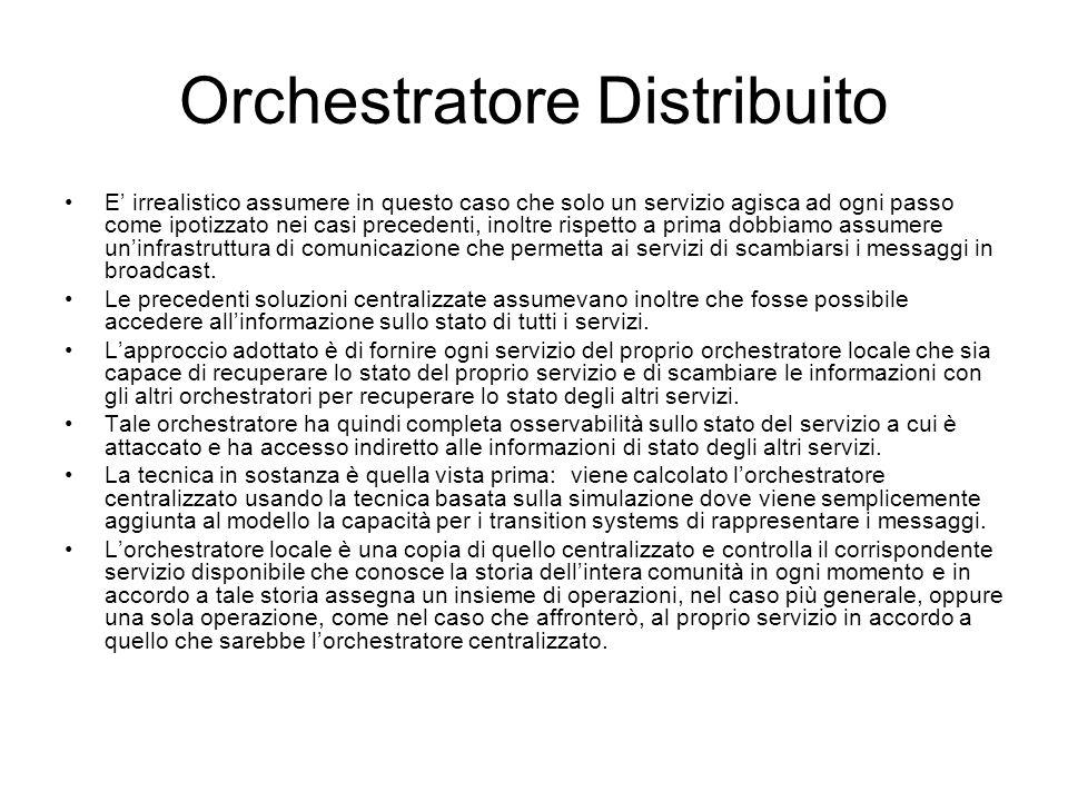 Orchestratore Distribuito E irrealistico assumere in questo caso che solo un servizio agisca ad ogni passo come ipotizzato nei casi precedenti, inoltr