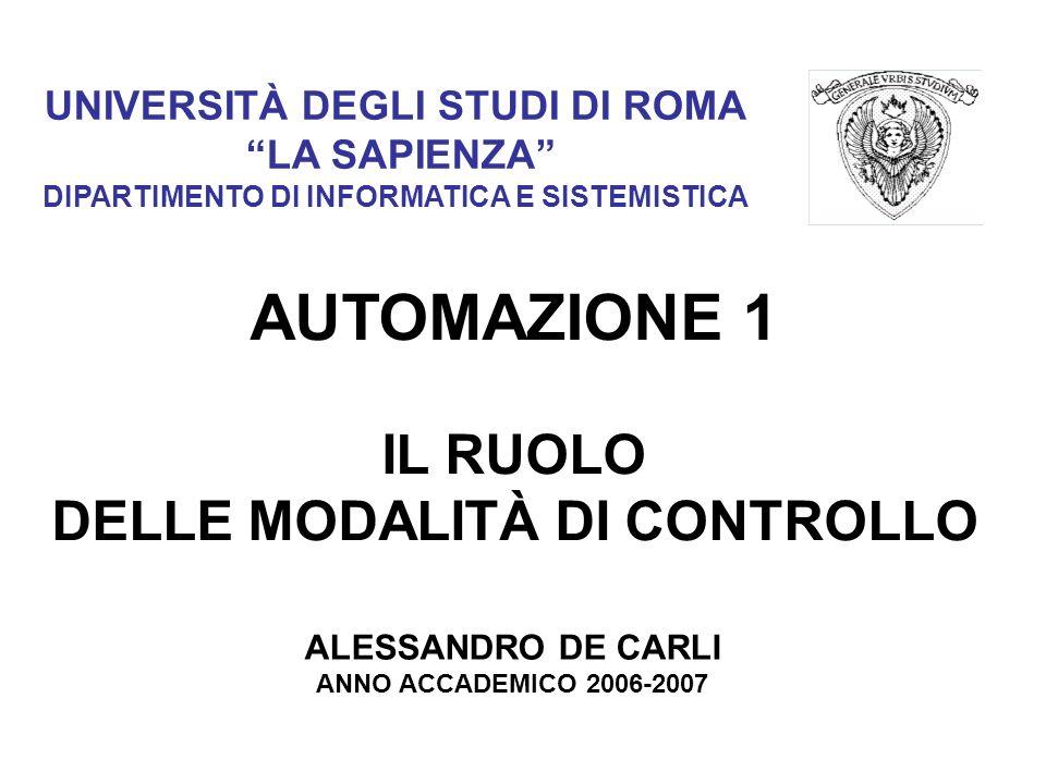 UNIVERSITÀ DEGLI STUDI DI ROMA LA SAPIENZA DIPARTIMENTO DI INFORMATICA E SISTEMISTICA AUTOMAZIONE 1 IL RUOLO DELLE MODALITÀ DI CONTROLLO ALESSANDRO DE CARLI ANNO ACCADEMICO 2006-2007