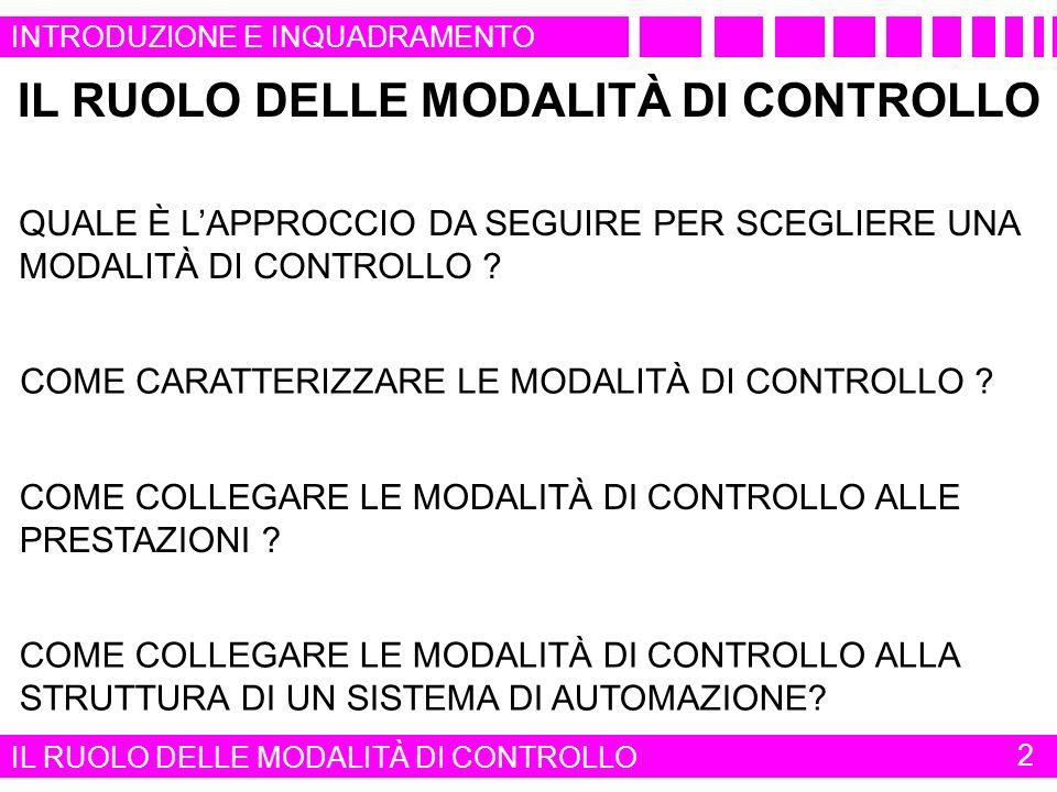 IL RUOLO DELLE MODALITÀ DI CONTROLLO COME COLLEGARE LE MODALITÀ DI CONTROLLO ALLA STRUTTURA DI UN SISTEMA DI AUTOMAZIONE.