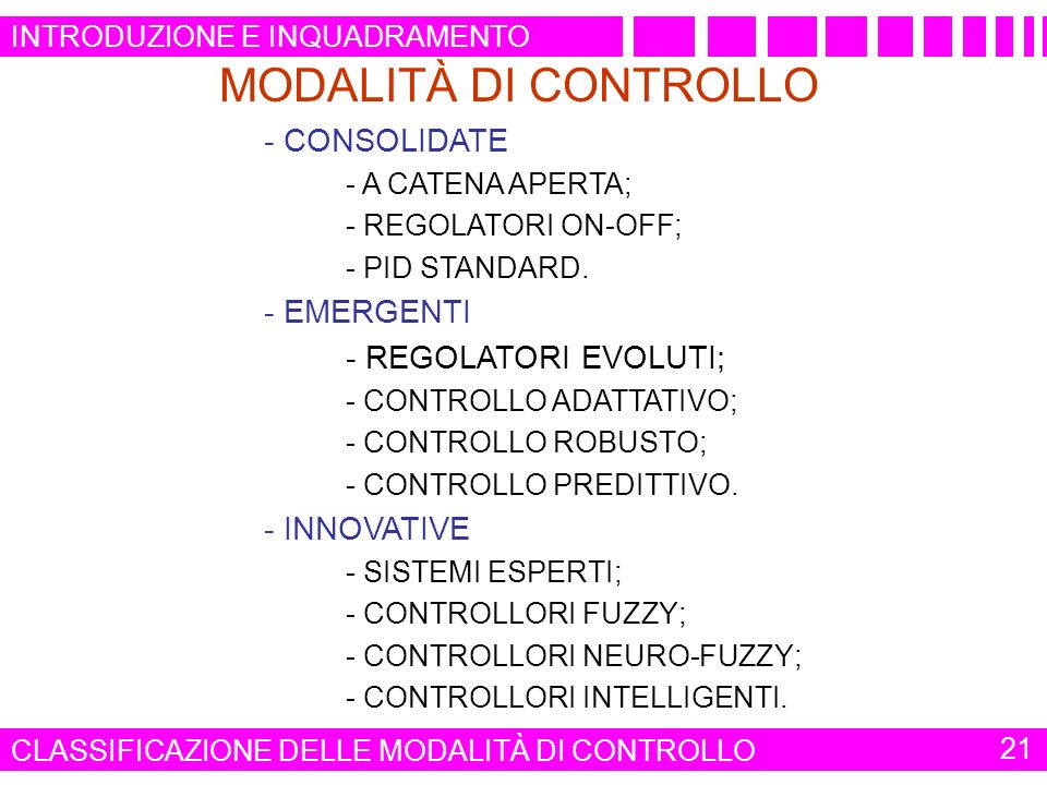 MODALITÀ DI CONTROLLO - CONSOLIDATE - EMERGENTI - INNOVATIVE - A CATENA APERTA; - REGOLATORI ON-OFF; - PID STANDARD. - REGOLATORI EVOLUTI; - CONTROLLO