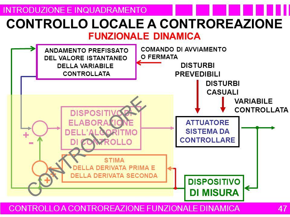 47 INTRODUZIONE E INQUADRAMENTO CONTROLLO LOCALE A CONTROREAZIONE FUNZIONALE DINAMICA CONTROLLO A CONTROREAZIONE FUNZIONALE DINAMICA 47 QUADRO DI COMANDO DI UN APPARATO O DI UN IMPIANTO COMANDO DI AVVIAMENTO O FERMATA VARIABILE CONTROLLATA DISPOSITIVO DI ELABORAZIONE DELLALGORITMO DI CONTROLLO ATTUATORE SISTEMA DA CONTROLLARE DISPOSITIVO DI MISURA + DISTURBI PREVEDIBILI DISTURBI CASUALI STIMA DELLA DERIVATA PRIMA E DELLA DERIVATA SECONDA + + ANDAMENTO PREFISSATO DEL VALORE ISTANTANEO DELLA VARIABILE CONTROLLATA CONTROLLORE