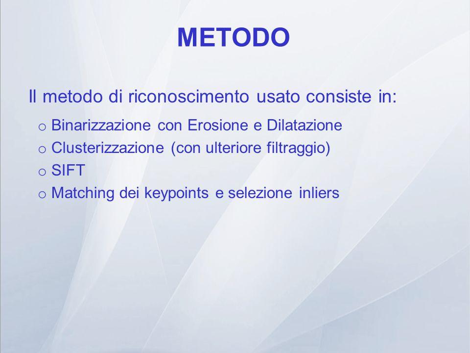 METODO Il metodo di riconoscimento usato consiste in: o Binarizzazione con Erosione e Dilatazione o Clusterizzazione (con ulteriore filtraggio) o SIFT