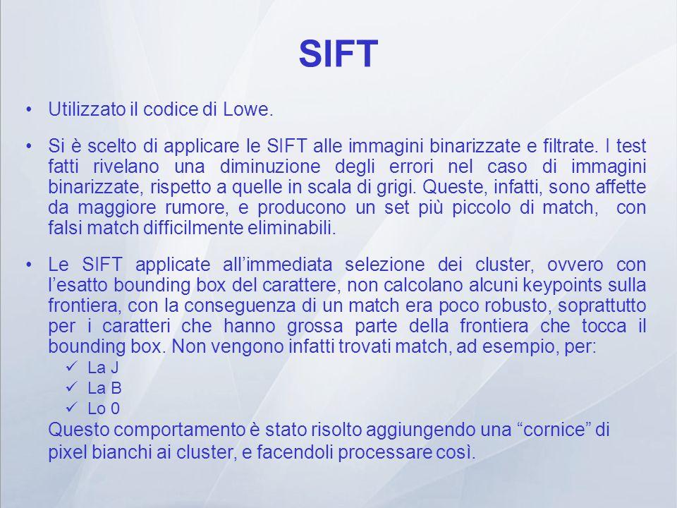 SIFT Utilizzato il codice di Lowe. Si è scelto di applicare le SIFT alle immagini binarizzate e filtrate. I test fatti rivelano una diminuzione degli