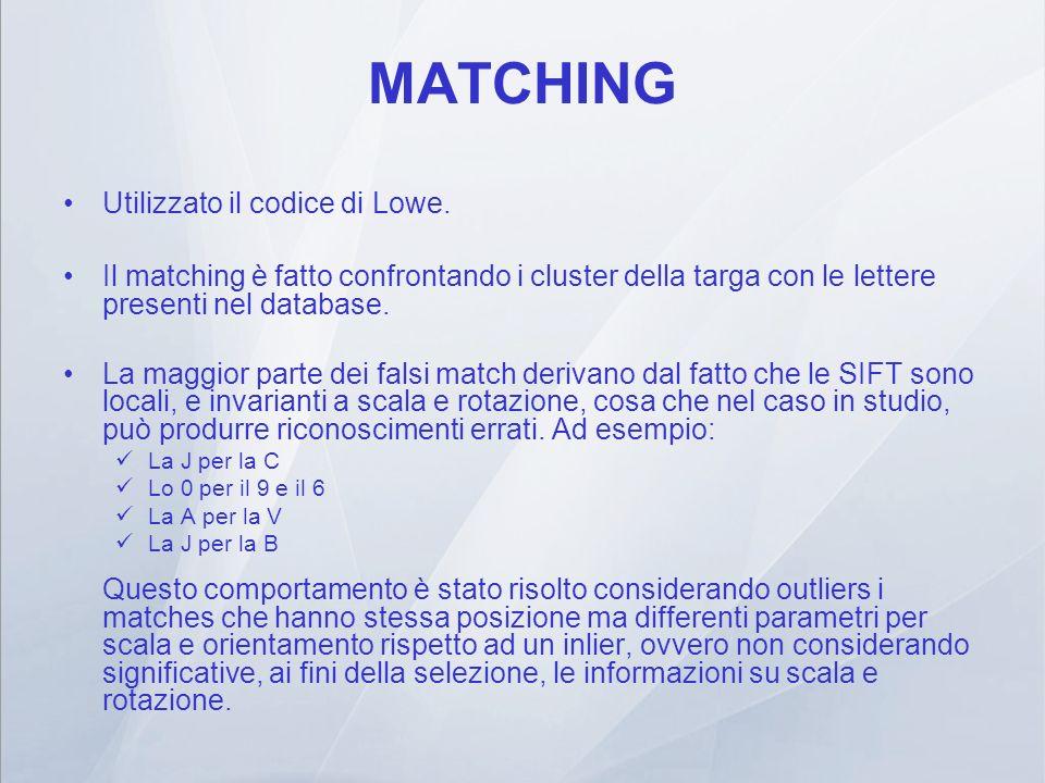 MATCHING Utilizzato il codice di Lowe. Il matching è fatto confrontando i cluster della targa con le lettere presenti nel database. La maggior parte d