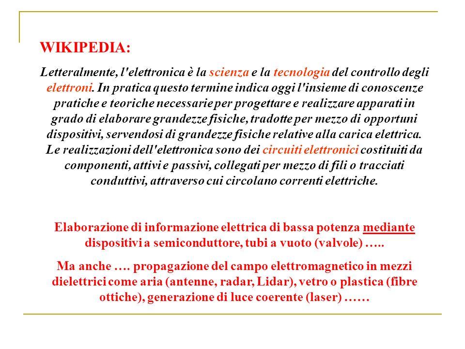 WIKIPEDIA: Letteralmente, l'elettronica è la scienza e la tecnologia del controllo degli elettroni. In pratica questo termine indica oggi l'insieme di