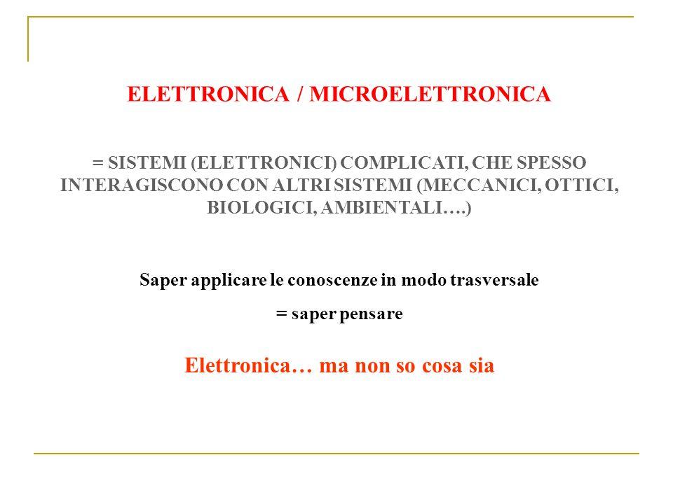 ELETTRONICA / MICROELETTRONICA = SISTEMI (ELETTRONICI) COMPLICATI, CHE SPESSO INTERAGISCONO CON ALTRI SISTEMI (MECCANICI, OTTICI, BIOLOGICI, AMBIENTAL