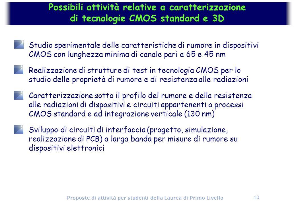 10 Proposte di attività per studenti della Laurea di Primo Livello Possibili attività relative a caratterizzazione di tecnologie CMOS standard e 3D St