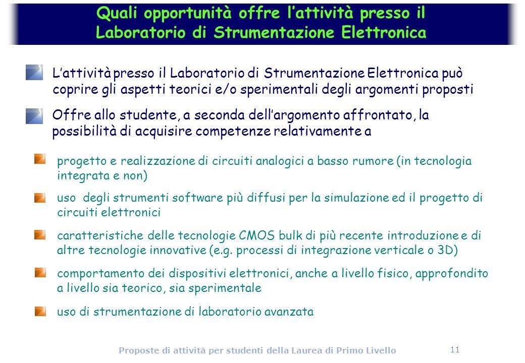 11 Proposte di attività per studenti della Laurea di Primo Livello progetto e realizzazione di circuiti analogici a basso rumore (in tecnologia integr