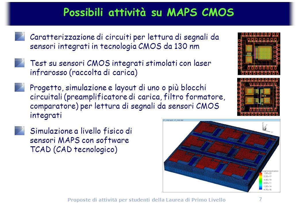 7 Proposte di attività per studenti della Laurea di Primo Livello Possibili attività su MAPS CMOS Caratterizzazione di circuiti per lettura di segnali