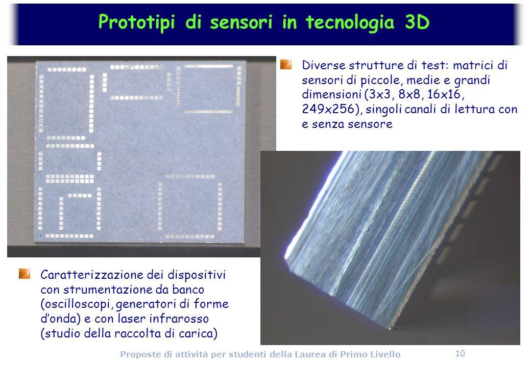 10 Proposte di attività per studenti della Laurea di Primo Livello Prototipi di sensori in tecnologia 3D Diverse strutture di test: matrici di sensori