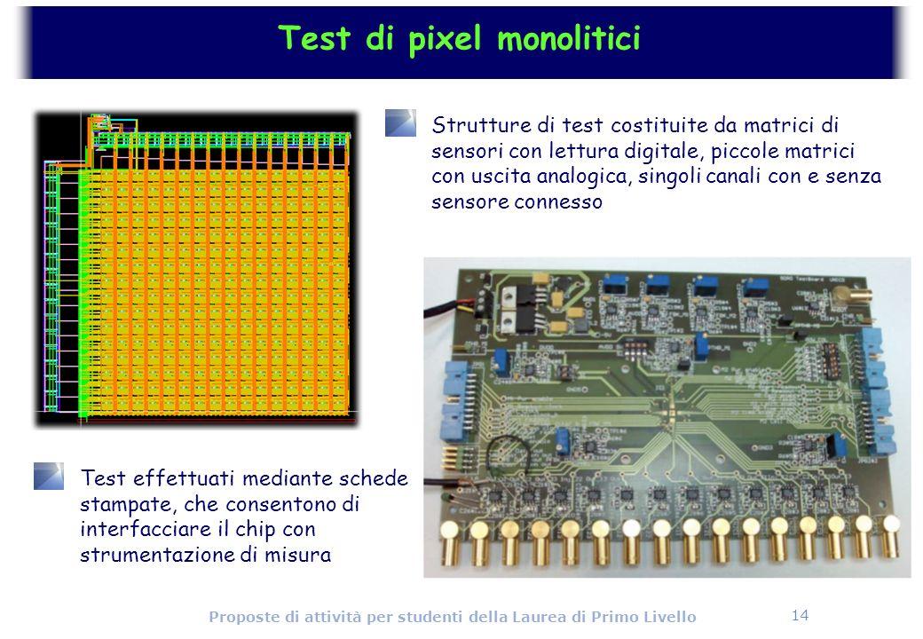 14 Proposte di attività per studenti della Laurea di Primo Livello Test di pixel monolitici Strutture di test costituite da matrici di sensori con let