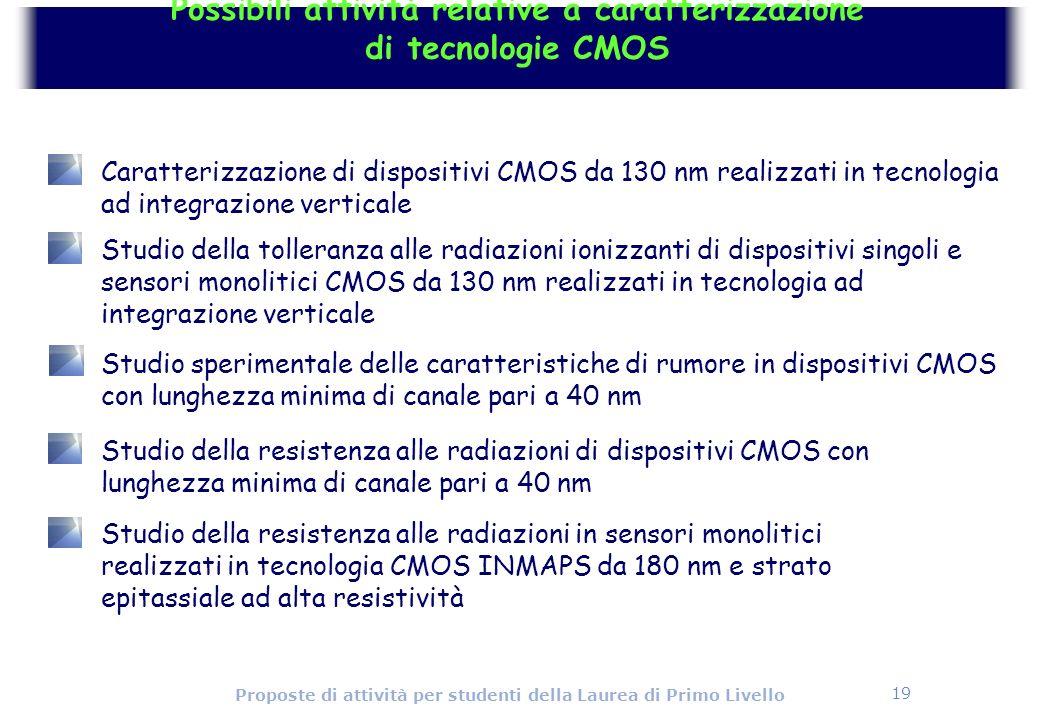 19 Proposte di attività per studenti della Laurea di Primo Livello Possibili attività relative a caratterizzazione di tecnologie CMOS Studio speriment