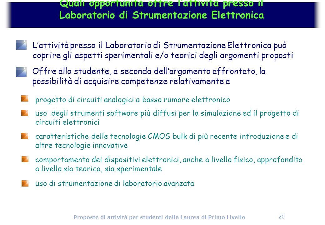 20 Proposte di attività per studenti della Laurea di Primo Livello progetto di circuiti analogici a basso rumore elettronico uso degli strumenti softw