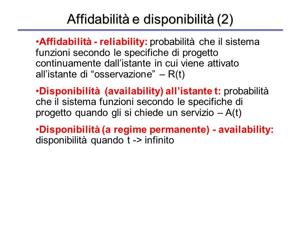 9 Affidabilità e disponibilità Fallimento (failure): il comportamento del servizio non è conforme alle specifiche –Il fallimento è causato da un errore (error) – i.e.