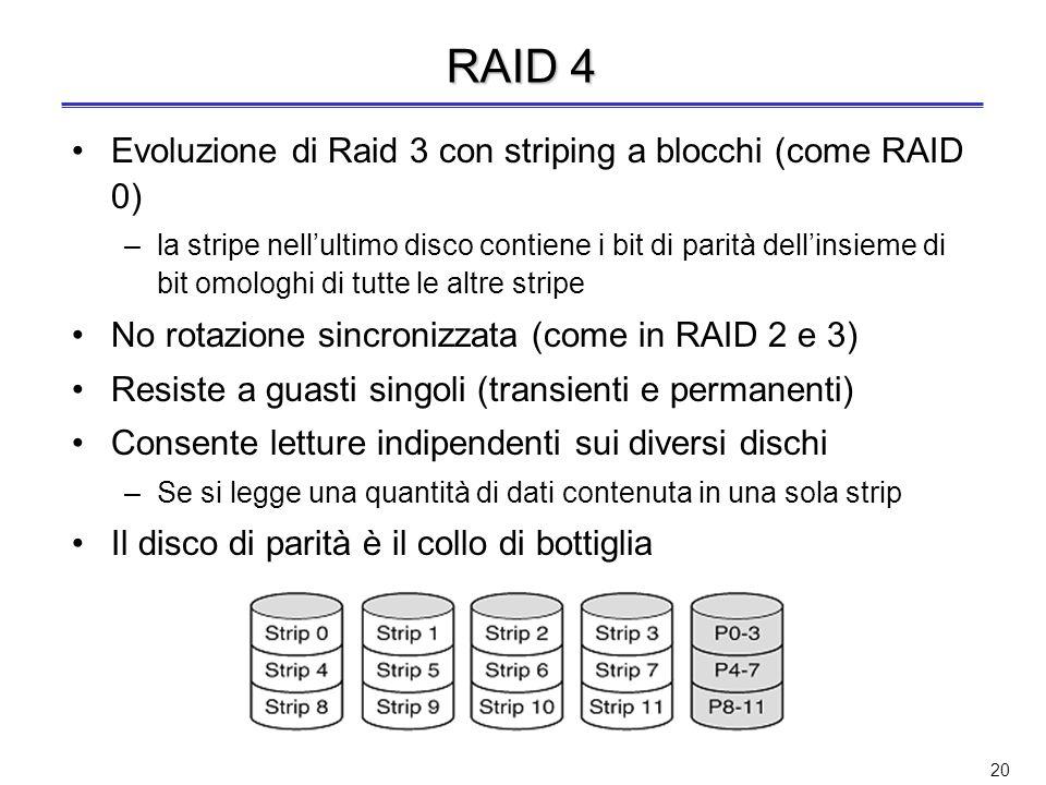 19 RAID 3: esempio P 10010011 11001101 10010011...