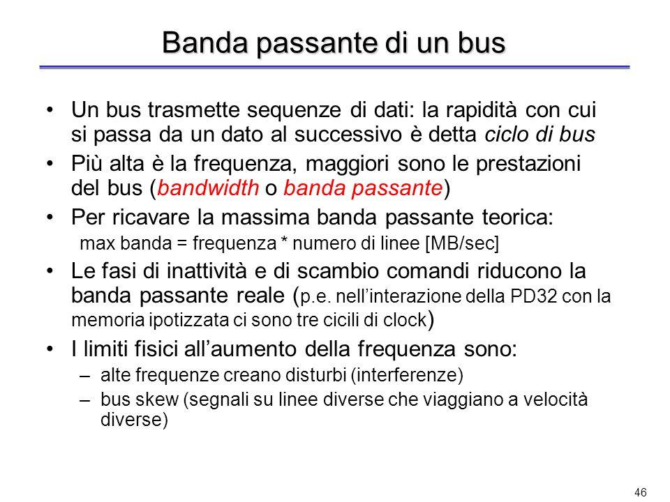45 Bus interni ed esterni I bus in un calcolatore si possono anche distinguere in bus interni ed esterni Bus interni (o locali) –Confinati allinterno di una singolo chip (tra processore e cache) o tra processore e memoria –Elevata velocità per massimizzare la banda passante –Tecnologia proprietaria Bus esterni –Collegano dispositivi diversi –Maggiore lunghezza –Velocità inferiore