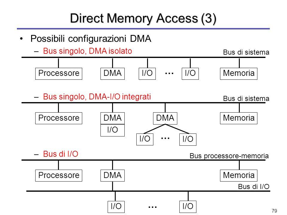 78 Direct Memory Access (2) Il processore ha solo il compito di supervisore; a fronte di una richiesta di I/O, il processore invia al DMA controller: –Tipo di operazione richiesta –Dispositivo di I/O –Indirizzo di memoria da cui iniziare a leggere/scrivere i dati –Numero di byte da leggere/scrivere Il DMA controller avvia loperazione richiesta e trasferisce i dati da/verso la memoria Completato il trasferimento, il DMA controller invia uninterruzione al processore per segnalare il completamento delloperazione richiesta Tra il momento in cui termina linvio del comando di I/O al controller e la ricezione dellinterruzione inviata dal DMA controller, il processore è completamente svincolato dalloperazione di I/O e può dedicarsi ad altre attività