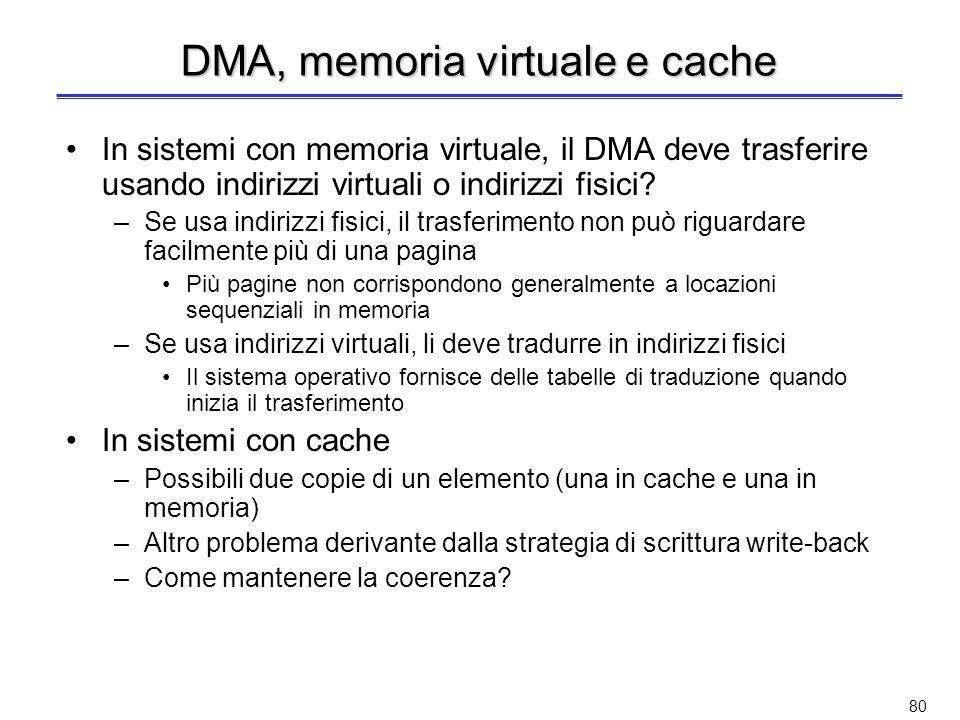 79 Direct Memory Access (3) Possibili configurazioni DMA –Bus singolo, DMA isolato –Bus singolo, DMA-I/O integrati –Bus di I/O ProcessoreDMAI/O Memoria … ProcessoreDMA I/O Memoria … DMA I/O ProcessoreDMA I/O Memoria … I/O Bus di sistema Bus processore-memoria Bus di I/O