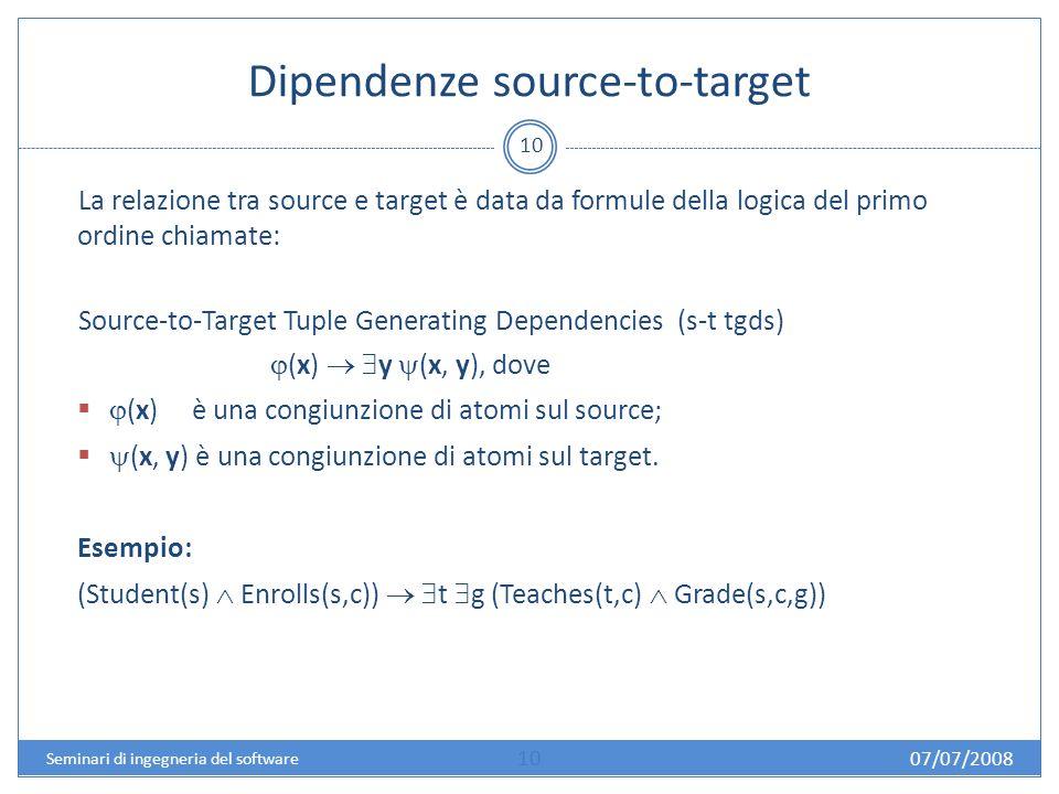 Dipendenze source-to-target 10 La relazione tra source e target è data da formule della logica del primo ordine chiamate: Source-to-Target Tuple Generating Dependencies (s-t tgds) (x) y (x, y), dove (x) è una congiunzione di atomi sul source; (x, y) è una congiunzione di atomi sul target.
