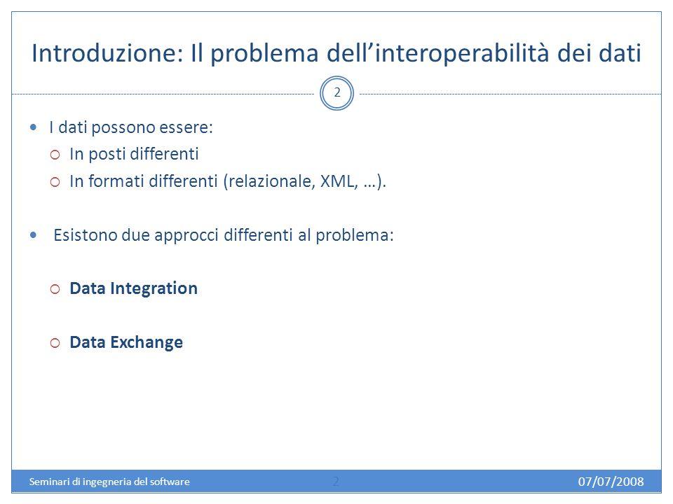 Data Exchange: visione dinsieme 3 Il Data Exchange è un problema vecchio e ricorrente.