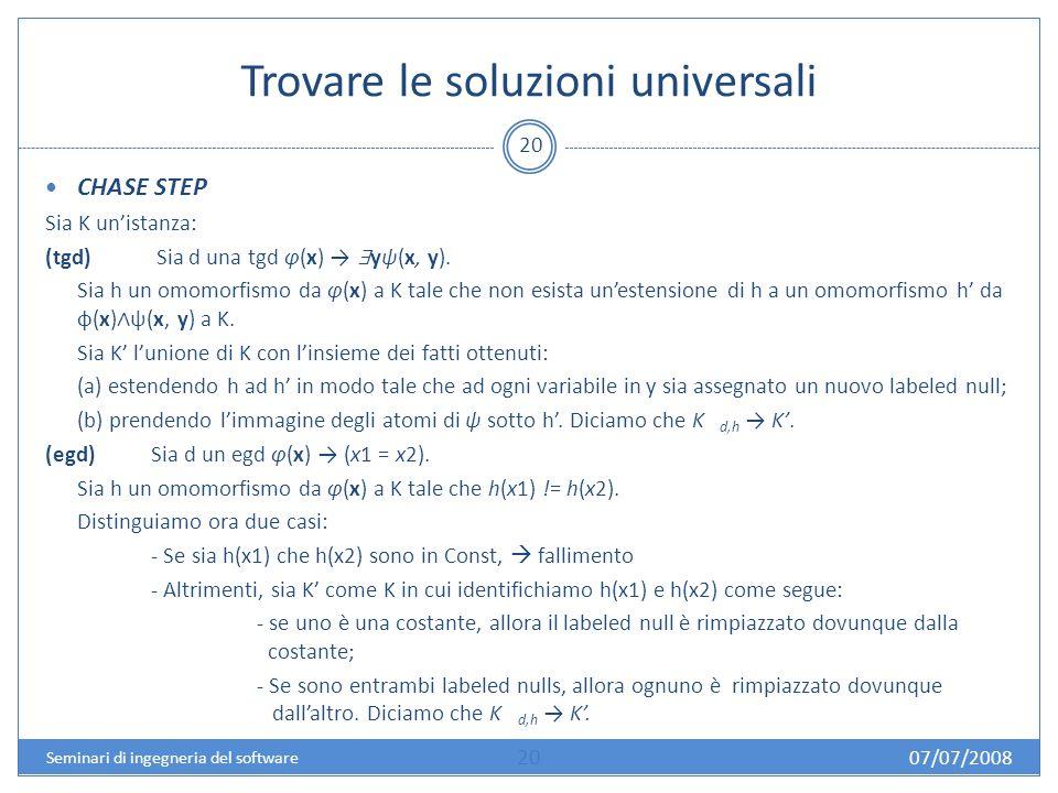 Trovare le soluzioni universali 20 CHASE STEP Sia K unistanza: (tgd) Sia d una tgd φ(x) yψ(x, y).