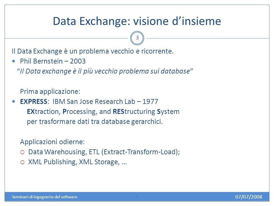 07/07/2008 4 Seminari di ingegneria del software Data exchange & data integration : caratteristiche e … Data integration : - tripla (S, G, M) -Due approcci per M.