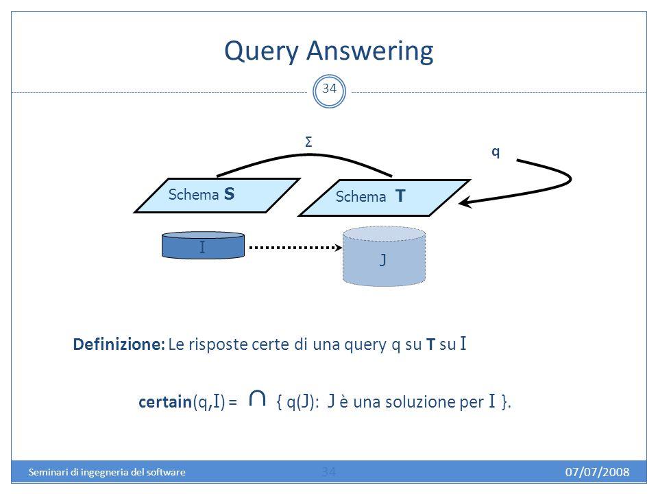 Query Answering 34 Schema S Schema T I J Σ q Definizione: Le risposte certe di una query q su T su I certain(q,I ) = { q( J ): J è una soluzione per I }.