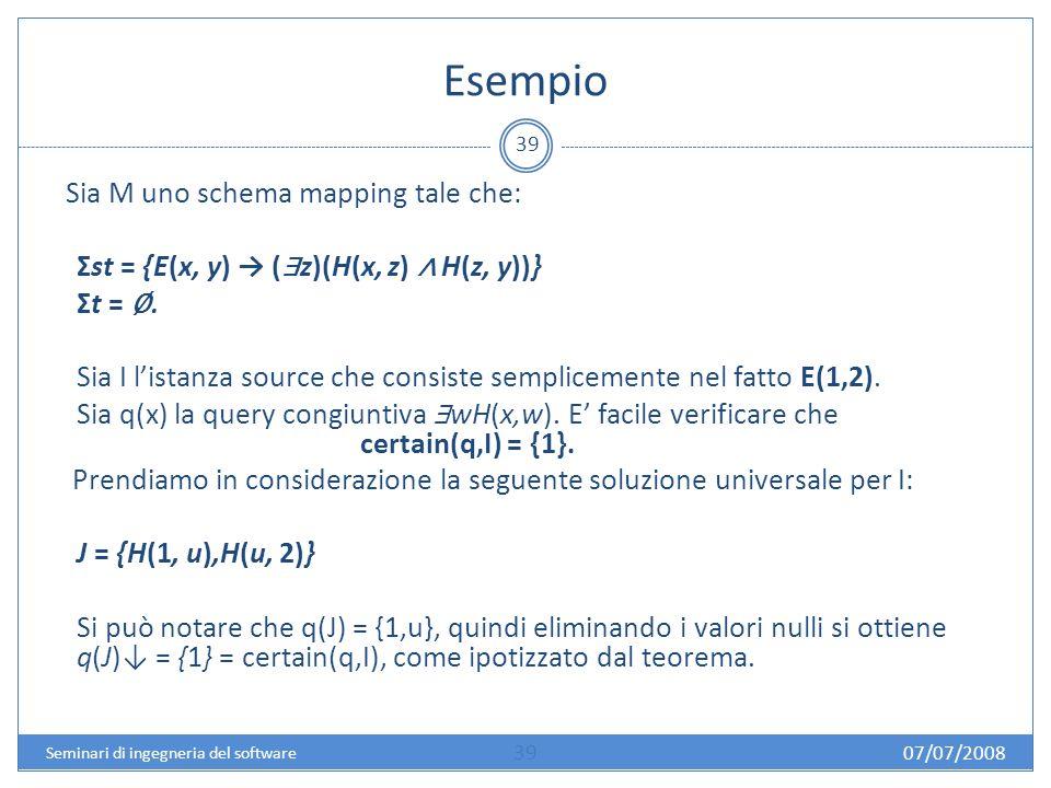 Esempio 39 Sia M uno schema mapping tale che: Σst = {E(x, y) ( z)(H(x, z) H(z, y))} Σt =.