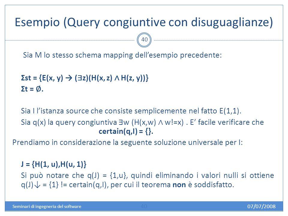 Esempio (Query congiuntive con disuguaglianze) 40 Sia M lo stesso schema mapping dellesempio precedente: Σst = {E(x, y) ( z)(H(x, z) H(z, y))} Σt =.