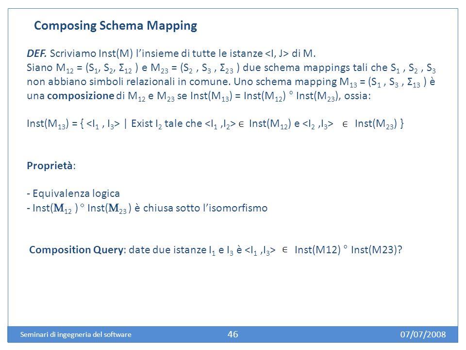 07/07/2008 Seminari di ingegneria del software 46 Composing Schema Mapping DEF.