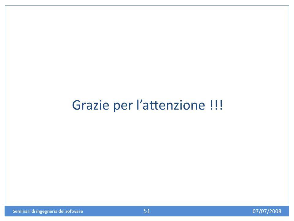 07/07/2008 Seminari di ingegneria del software 51 Grazie per lattenzione !!!