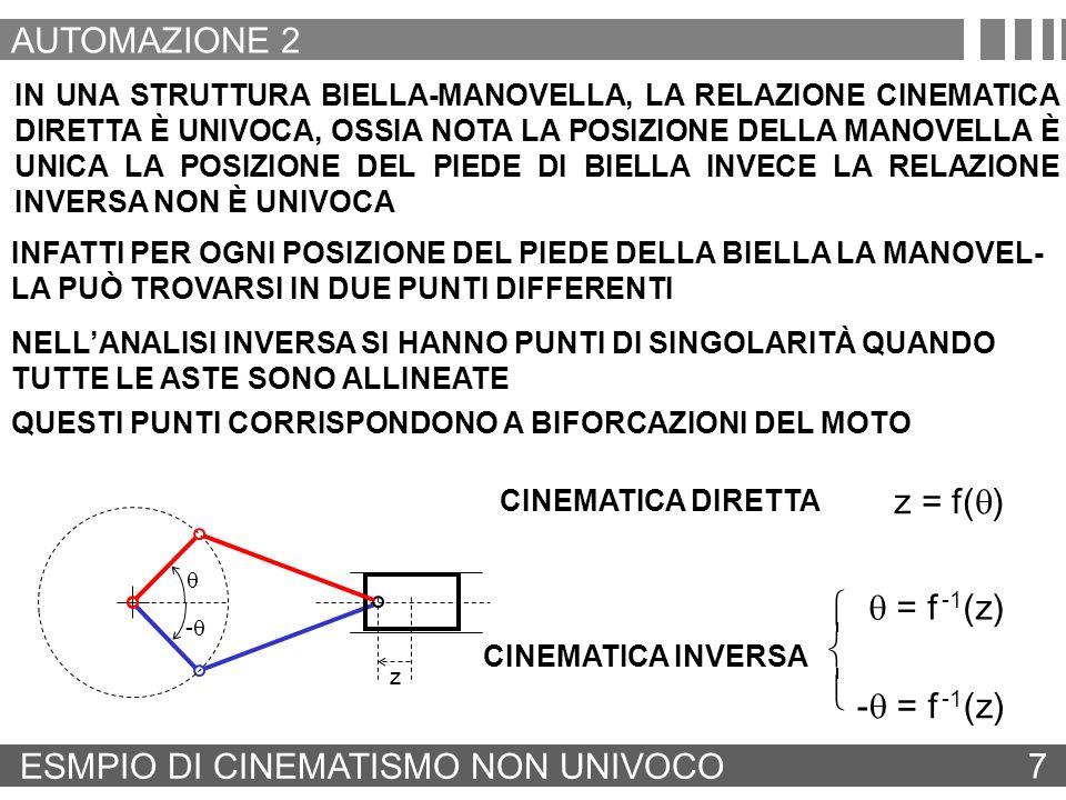 CINEMATICA 8 AUTOMAZIONE 2 LO STUDIO DELLA CINEMATICA HA PORTATO AD INDIVIDUARE LA POSIZIONE, LA VELOCITÀ, L ACCELERAZIONE DEI PUNTI SIGNIFICATI- VI DELLA CATENA CINEMATICA PER PROGETTARE LA MOVIMENTAZIONE DELLA CATENA CINEMATICA OCCORRE DIMENSIONARE GLI ATTUATORI, OSSIA CALCOLARE LA POTENZA, LA COPPIA OPPURE LA FORZA NECESSARIA PER OTTENE-RE I PROFILI DI MOTO DESIDERATI A TALE SCOPO OCCORRE COLLEGARE: I PROFILI DI ACCELERAZIONE I CON LE MASSE E LE INERZIE DEGLI ORGANI IN MOVIMENTO LE VELOCITÀ CON I COEFFICIENTI DI ATTRITO ED I PROFILI DI CARICO I PROFILI DI MOTO DEI SINGOLI ELEMENTI FINALI SONO NOTI LA STRUTTURA DELLA CATENA CINEMATICA MOMENTI DI INERZIA, COEFFICIENTI DI ATTRITO, ELASTICITÀ DI TUTTI GLI ELEMENTI DELLA CATENA CINEMATICA E DEL CARICO