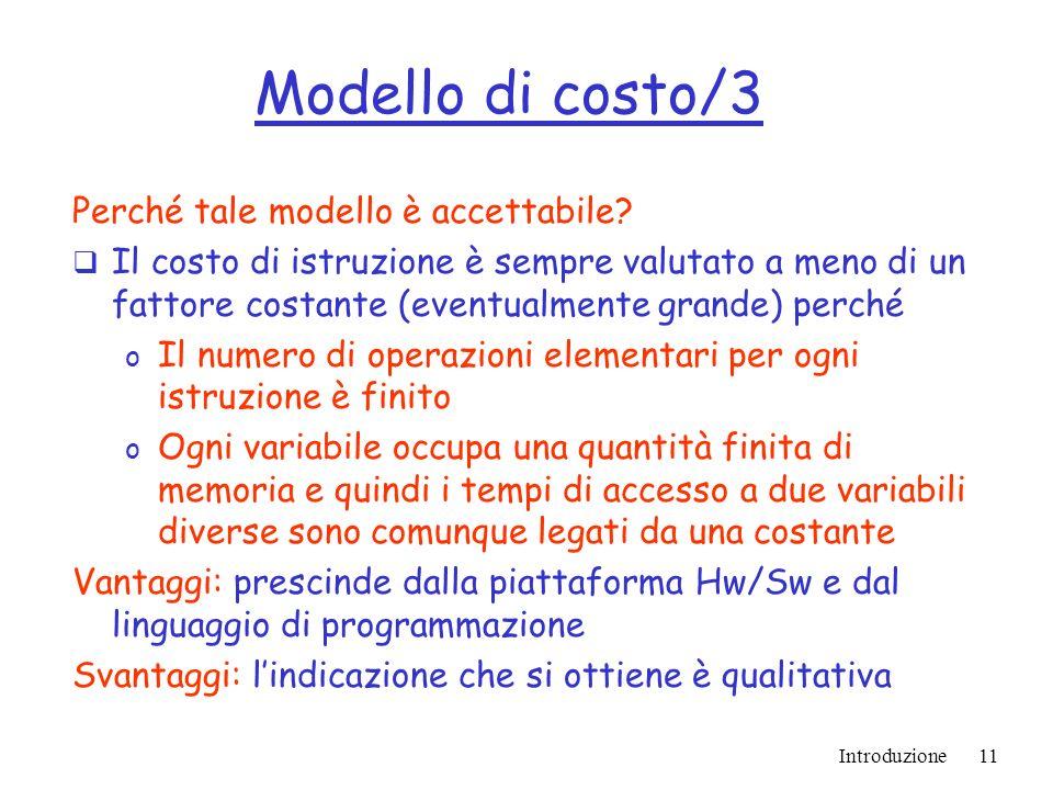 Introduzione11 Modello di costo/3 Perché tale modello è accettabile.