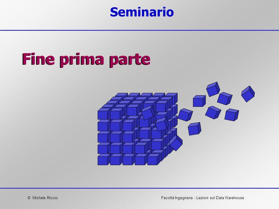 © Michele RiccioFacoltà Ingegneria - Lezioni sul Data Warehouse Seminario Fine prima parte