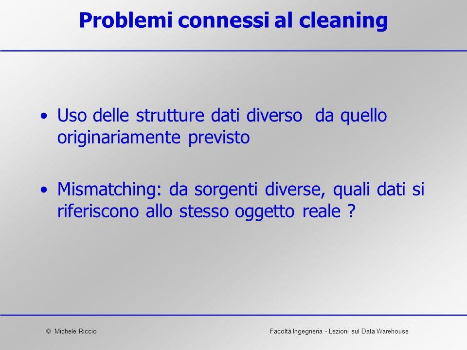 © Michele RiccioFacoltà Ingegneria - Lezioni sul Data Warehouse Problemi connessi al cleaning Uso delle strutture dati diverso da quello originariamen