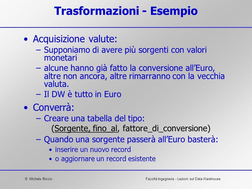 © Michele RiccioFacoltà Ingegneria - Lezioni sul Data Warehouse Trasformazioni - Esempio Acquisizione valute: –Supponiamo di avere più sorgenti con va