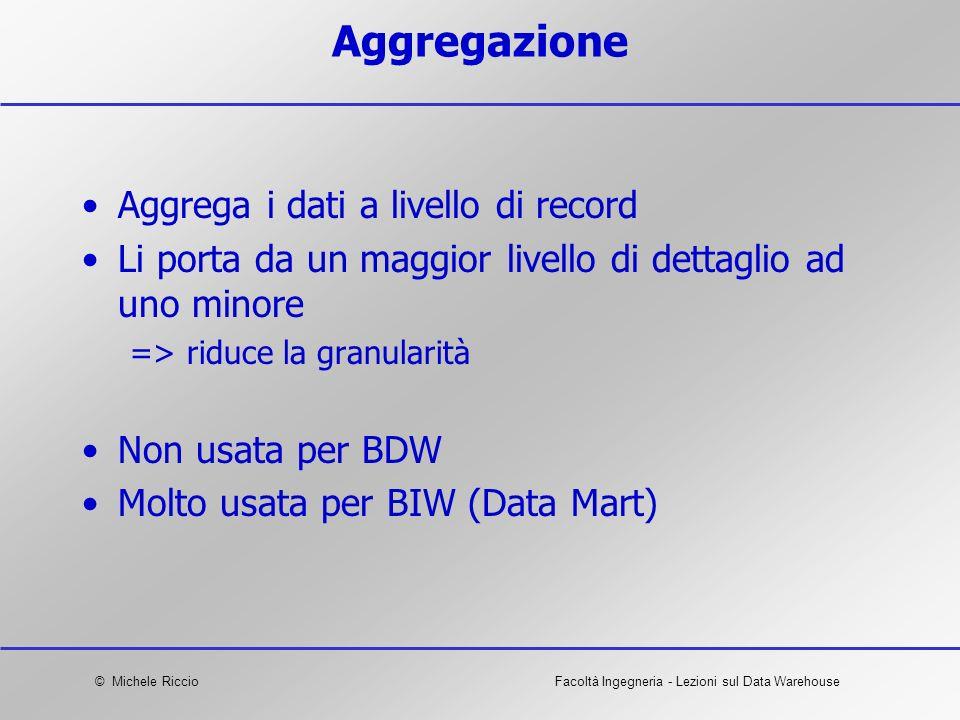 © Michele RiccioFacoltà Ingegneria - Lezioni sul Data Warehouse Aggregazione Aggrega i dati a livello di record Li porta da un maggior livello di dett